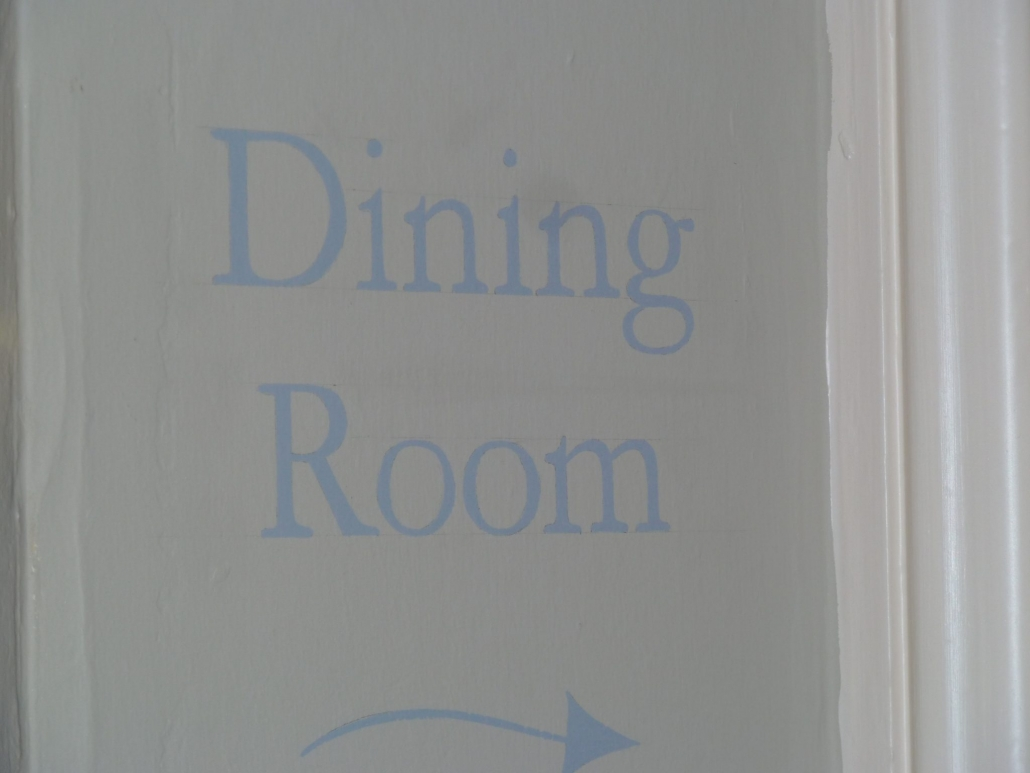 Dining Room sign at the Edgar Townhouse in Bath